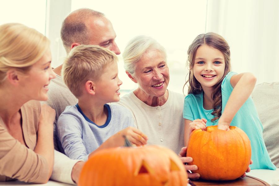pumkin carving with grandchildren