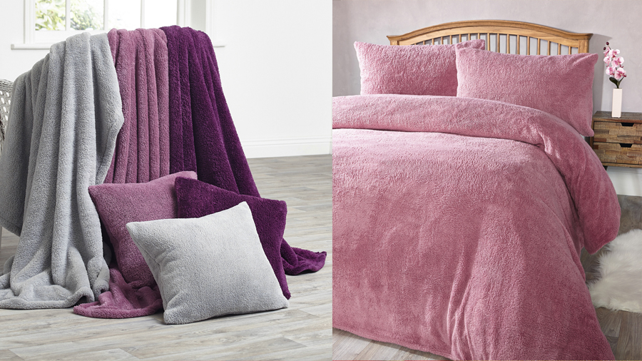 Keep warm with fleecey throws or bedding sets