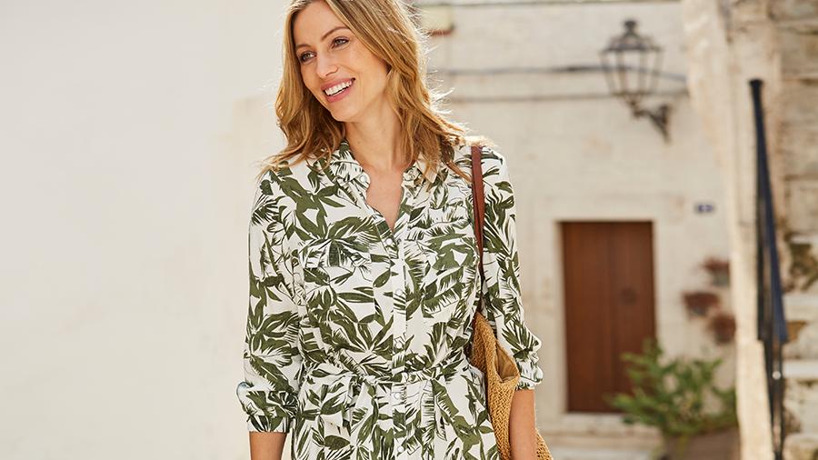 Q656 Palm print casual dress