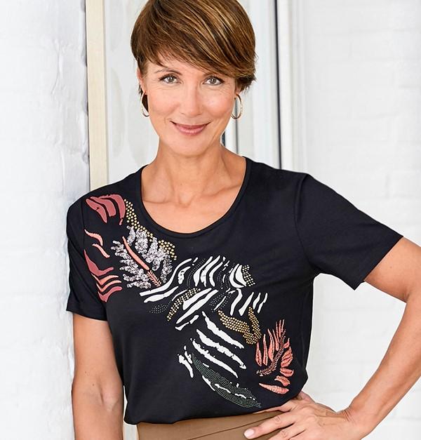 Embellished animal print T-Shirt