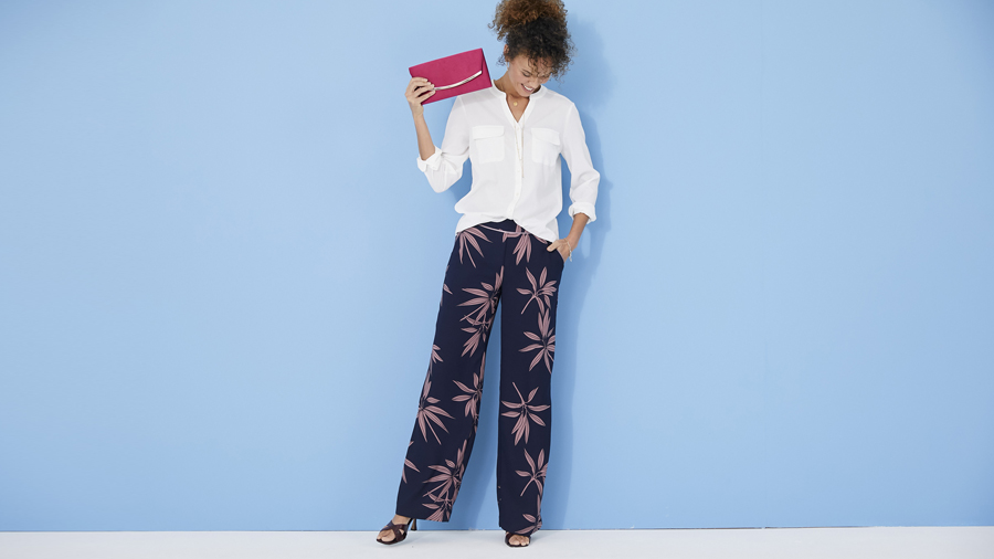 Smart printed palazzo trousers