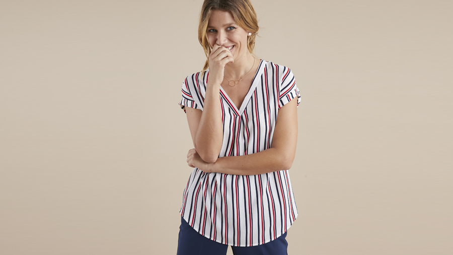 Be bold in this v neck blouse
