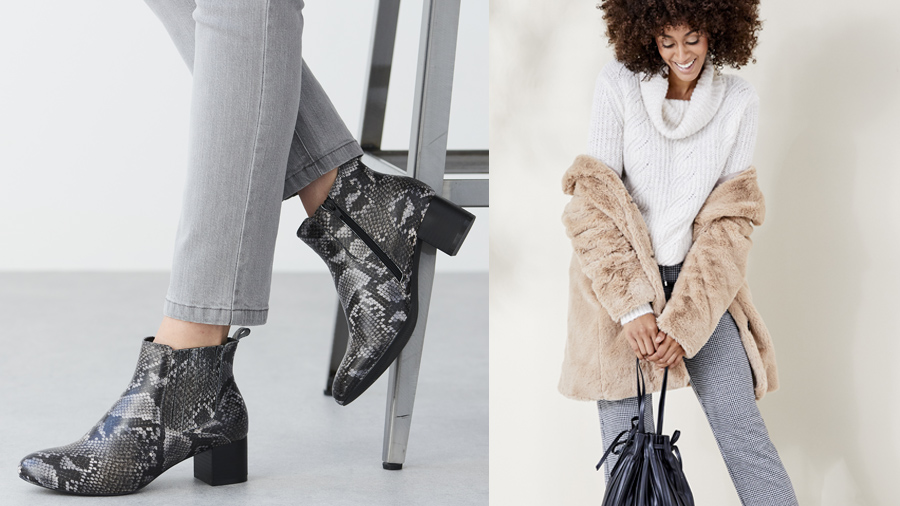 Faux snake print boots